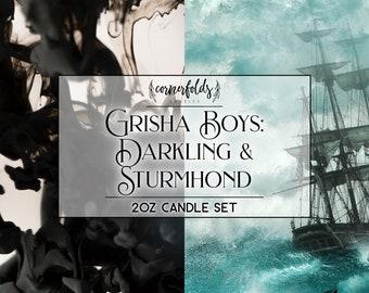 Grisha Boys - Darkling & Sturmhond | Grisha Trilogy Inspired 2oz. Scented Soy Candle Set