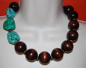 Dark Wood and Turquoise Statement Necklace and Earrings Set Chunky Bold Wood and Silver Beaded Necklace and Earrings Bold