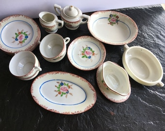 Vintage 19 Piece Toy China Tea Set // Sears Roebuck miniature play set for child original box Made in Japan hand painted porcelain : sears dinnerware sets - Pezcame.Com