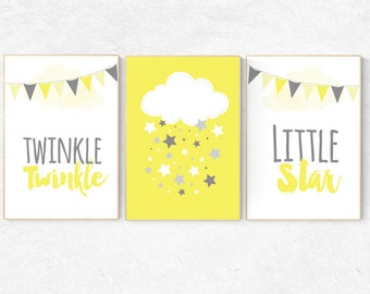 Yellow nursery decor, gender neutral baby, Twinkle Twinkle Little Star, cloud nursery, new baby gift, yellow gray nursery, baby room decor
