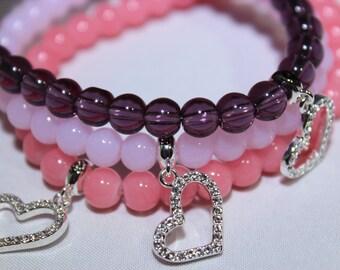 LOVE charm bracelet - stretch glass beaded bracelet - friendship charm bracelet