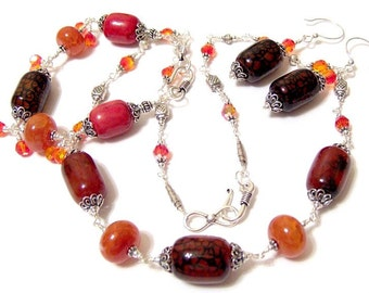 FireDragon ....  a Signature Design Fantasy in Stones and Crystals Includes Handlinked Necklace Bracelet and Matching Earrings