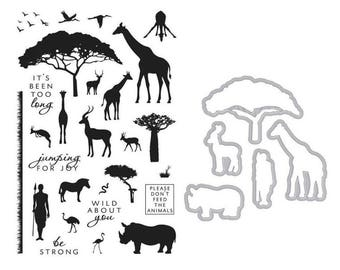"""Hero Arts """"SAFARI Wild About You"""" Clear Stamps & Coordinating Frame Cuts Dies Bundle"""