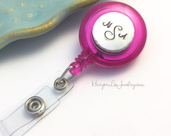 Personalized Monogran ~ Hand Stamped ~ Aluminum ~ Custom Retractable Badge Reel ~ Nursing Accessory ~ Stethoscope ID Tag ~ Nurse ~ Initial