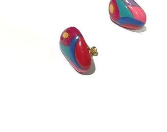 80s Multi-Color Earrings - Colorful Screw Ons -