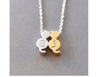 2 Initial Necklace, Cat Necklace, Gold & Silver Cat Necklace, Initial Cat Necklace, Pet Jewelry, Gift For Girlfriend, Pet Gift