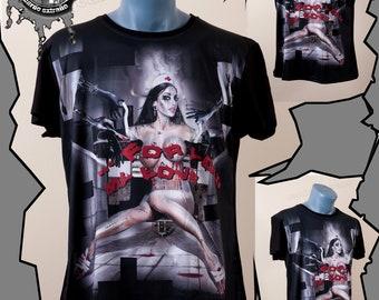 Provocative Art design T shirt, Punk clothing, Goth, Erotic art, Art print