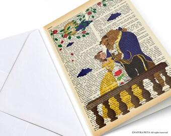 The beauty and the beast  greeting card-love card-wedding card-birthday card-Thank you card-anniversary card-custom card-blank card-NPGC034