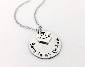 Miscarriage ~ Infant Loss NECKLACE... Personalized Hand Stamped Stainless Steel Disc