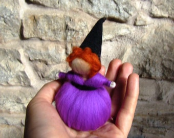 purple felted witch mini Steiner doll elf kendal fairies purple pixie girl eco friendly toy Autumn wool doll Waldorf nature table toy witch