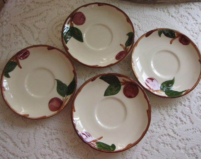 Franciscan Apple Saucers Set of Four (4) Vintage Dinnerware and Replacements California Pottery 1953-1958