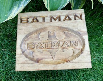 Personalized Batman keepsake, gift box, stash box, trinket box,
