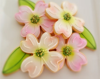 12 Dogwood Flower and Leaf Sugar Cookies