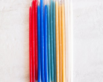6 Inch Hand Dipped Beeswax Birthday Candles // Brights