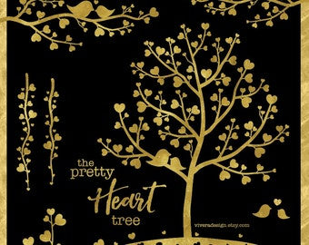 The Pretty Heart Tree in Gold - Digital Clip Art - Instant Download - Trees, Branches, Vines, and Birds