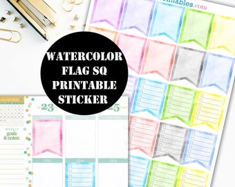 Watercolor Flag Sq Printable Planner Stickers // Erin Condren Printable / Plum Paper Planner / Planner Insert Instant Digital Download 00030
