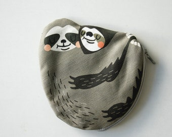 Sloth Coin Purse, Sloth bag, Sloth pouch, Cotton, white