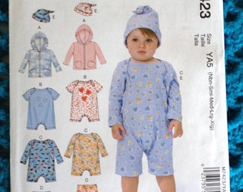 McCall's 7423, Infant Jacket, Bodysuit, Pants and Hat, Baby Hooded Jacket, Baby clothing, New uncut sewing pattern