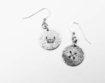 Viking Earrings - Viking Hat and Crossed Arrows Jewelry - Vacation, Travel, Adventure, History Gift