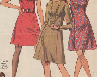 Bust 40-1970 Misses' Full Figure Dress Simplicity 8884 Size 18
