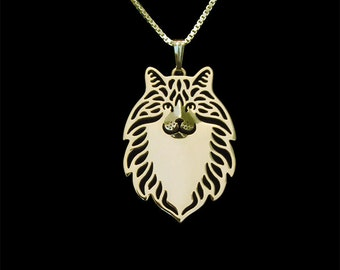 Norwegian Forest cat jewelry - gold pendant and necklace.