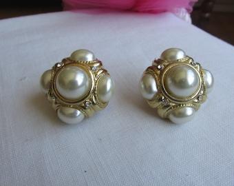 Earrings - Clip On - Faux Pearls - Vintage