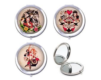 Mermaid tattoo pocket mirror, retro tattoo girl and horse, stewed screwed and tattooed compact mirror, gift for her.