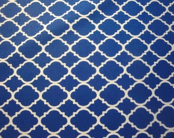 Royal Blue & White Quatrefoil-Choice Fabrics-BTY