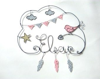 """""""Name wire personalized cloud""""Light as a feather bird""""nursery wall decor"""""""