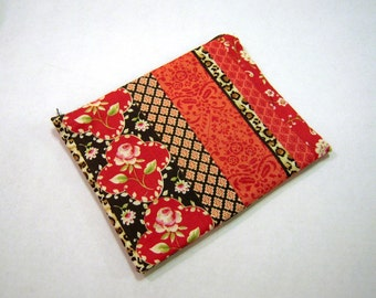 Red Roses and Leopard Zippered Pouch