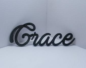 Grace Cursive Script Word Art Wall Hanging Sign Plaque Home Decor Typography