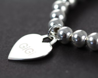 Custom Engraved Heart Pendant Bead Bracelet, 925 Sterling Silver