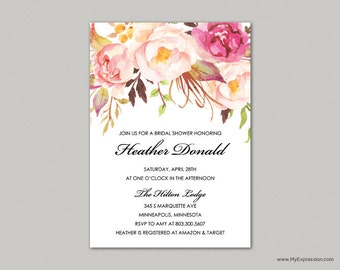 Rose Bouquet Bridal Shower Invitation (8379) - INSTANT DOWNLOAD Template  - Ready to Print - Editable PDF