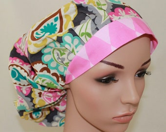 Pasleyw/Pink Band,Bouffant Scrub Hat, Surgical Scrub Hat, OR  Scrub Hat, Scrub Cap