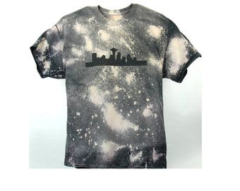 Seattle Skyline Bleached Acid Wash T shirt  SKU AM1006