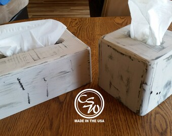Tissue Box Cover Set (Rectangular and Square), Tissue Box Holder Set, Tissue Box Cover Holder Set, Rustic Tissue Box Cover Set