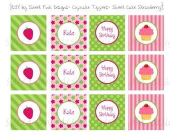 Strawberry Party, Strawberry, Strawberry Printables, Strawberry Cupcake Toppers, Cupcake Toppers, Girl Birthday