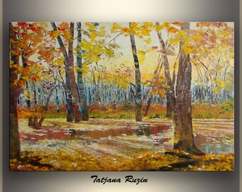 Autumn Landscape Art Painting, Oil Painting, Wall Art, Fall Forest, Fine Art, Home Decor, Wall Decor, Wall Hangings, Gift Idea,Made to order