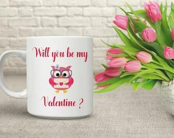 My Valentine Mug. Owl Mug. Valentines Mug. Valentines Gift. Couples Mug. Couples Gift. Coffee Cup.Tea Drinkers Gift.Coffee Lovers Gift