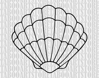Shell Svg, Shell marmaid  Svg Files, Silhouette Shell Cut Files, Cricut Shell Cut Files SVG,  Shell Svg, Shell clipart, Shell decor