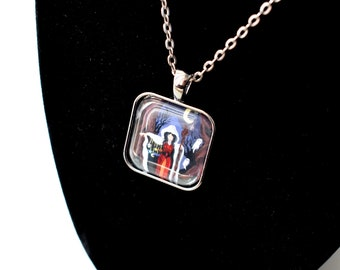 Handmade glass tile art pendant necklace with chain, Crone's Secret gothic witch w/ cloak, Halloween ghost forest moon occult pagan jewelry