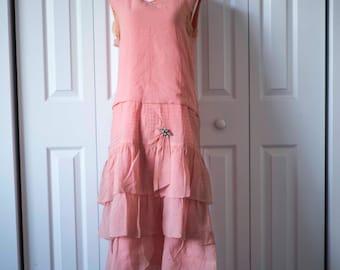 Vintage 20s Flapper Dress    Pink Dress    Vintage Downton Abbey