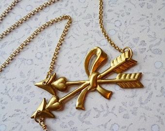 Sacred Crossed Arrows Necklace, Vintage Brass Stamping, REAL Garnet Blood Drop, Gold Plated Chain / Best Friends BFF Love Lovers Romance