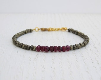 Summer SALE - Pyrite bracelet, Red garnet bracelet, January birthstone bracelet