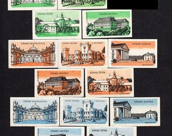 14 Vintage Castle Matchbox Labels - Czechoslovakia - Decoupage, Scrapbooking, School Project, Handmade Cards