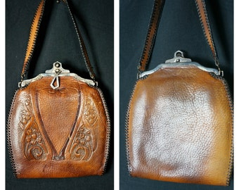 c.1921-25  Jemco Deco Tooled Leather Purse EXCELLENT Condition / Art Deco Art Nouveau Locking Jemco Purse / Edwardian Leather Tooled Handbag