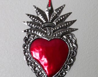 """LG Sacred Heart  Mexican Tin Ornament- Perfect for the one you love- 8"""""""