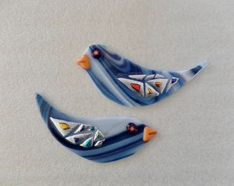 Two BIG Fused Glass Bee Birds with Dichroic Accents for Mosaic