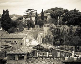 Rome Italy - Roman Forum - Architecture - Black and White - Sepia - Fine Art Photograph - Forum Neighborhood