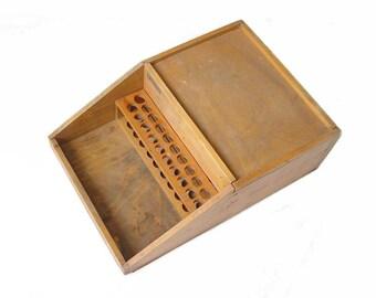 Antique Vintage Laboratory Wood Storage Box Organizer. Portable Chemistry Lab Equipment. Cabinets Display, Medicine Chest, Test Tube Rack.